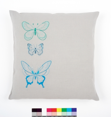 click here to view larger image of Blue Butterflies Embroidery Cushion (stamped cross stitch kit)
