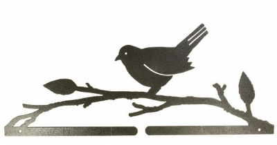 click here to view larger image of Bird On A Branch Split Bottom Bellpull - Charcoal - 14.5in (accessory)