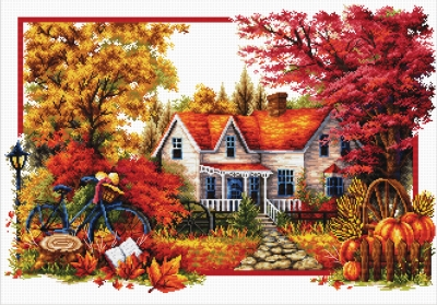 click here to view larger image of Autumn Comes (stamped cross stitch kit)