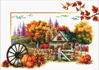 click here to view larger image of Autumn Farm - No Count Cross Stitch (stamped cross stitch kit)