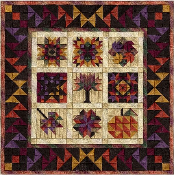 click here to view larger image of Autumn Barn Quilts (counted canvas chart)