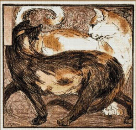 click here to view larger image of Two Cats 1909 - Franz Marc (chart)
