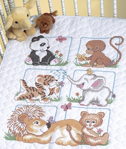 click here to view larger image of Animal Babes  Quilt (stamped cross stitch kit)